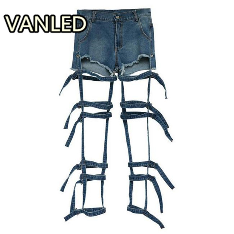 Fashion Hollow Out Tie Up   Jeans   Woman Summer Denim Shorts Moveable Two Way Wear 2018 Street Clothings