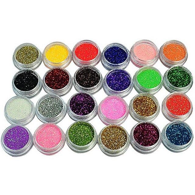 24 Colors Nail Glitter Acrylic Powder Dust 3D Tip Nail Art Manicure Tools Nail Art Decoration Powder Dust Gem Nail Decoration