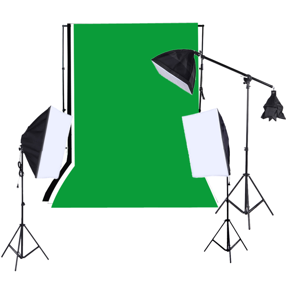 Softbox Light Bulbs: Ship from RU Photo Studio Lighting Kit with Backdrop Stand Black White  Green Backdrop 135W Light,Lighting