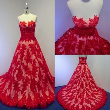2015 Real Photos Romantic Red Lace Wedding Dresses New Arrivals A-Line Sweetheart Sexy Bridal Gowns Floor Length Plus Size Dress