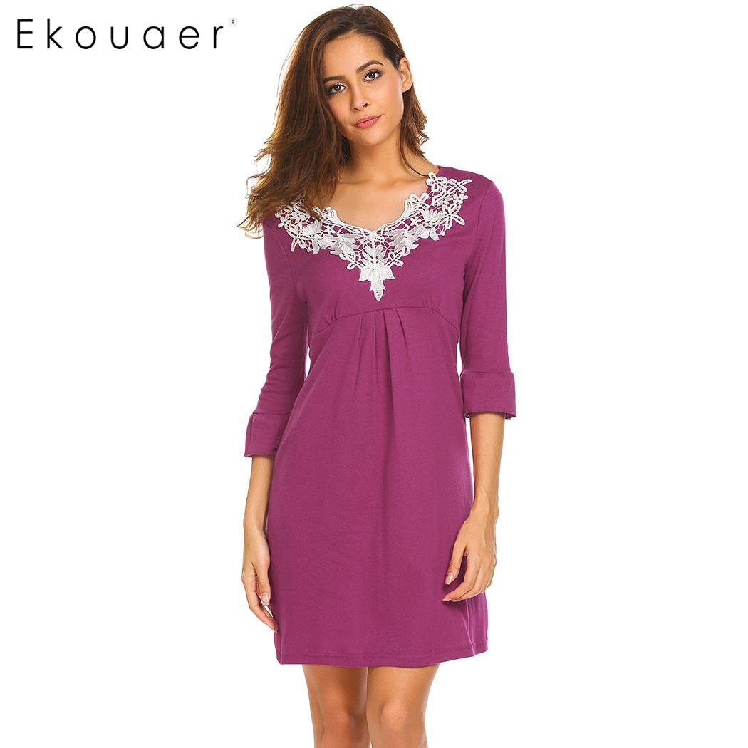 Ekouaer Elegant Sleepwear Women V-Neck Flare Sleeve Lace Trim Casual Slim Fit Nightgown Sleep Shirt Night Dress Female Homewear