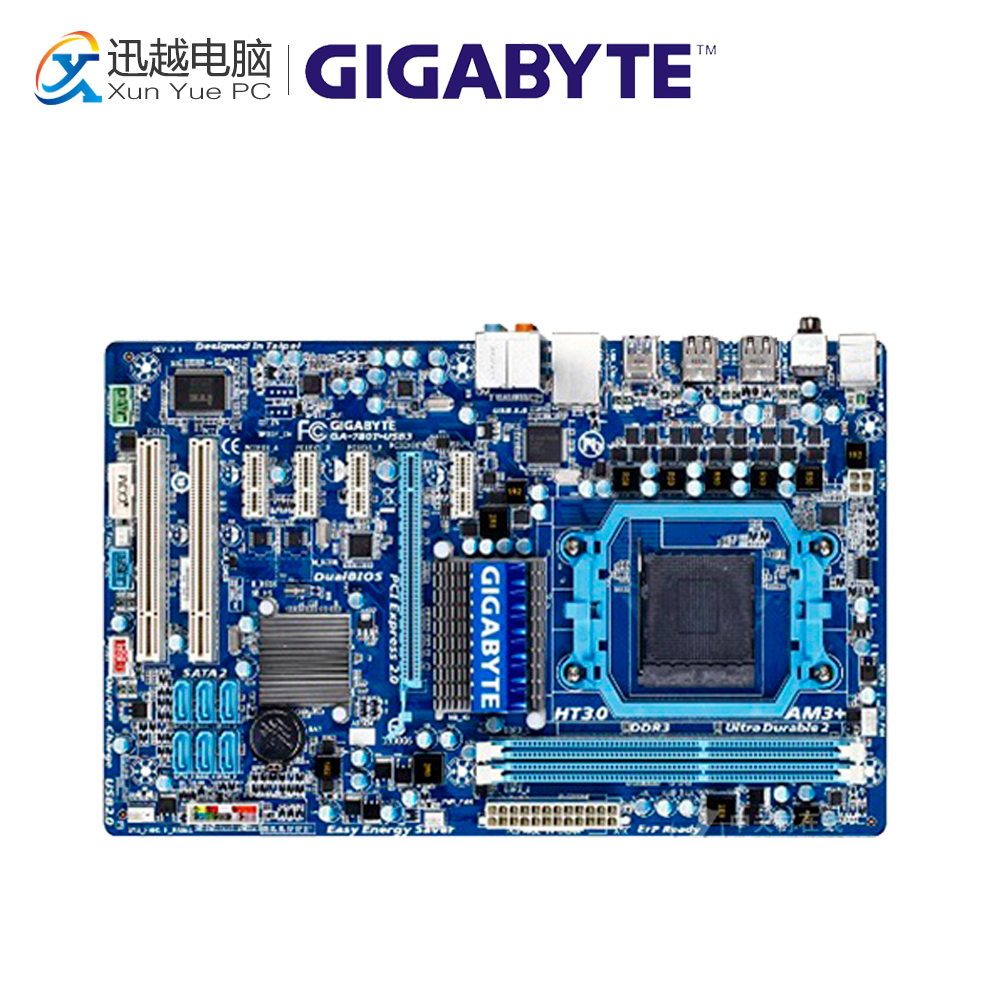 Gigabyte GA-780T-USB3 Desktop Motherboard 760G Socket AM3+ DDR3 SATA2 USB2.0 ATX gigabyte ga ma770t us3 desktop motherboard 770 socket am3 ddr3 sata2 usb2 0 atx