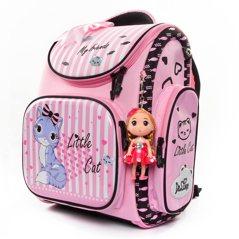 Delune Brand Kids New Cartoon Cat School Bags for Girls Child Waterproof Grade 1 3 Orthopedic School Backpacks Mochila Infantil-in School Bags from Luggage & Bags    2