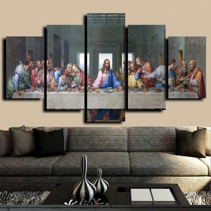 5 Sätze Berühmten HD Print Leinwand Gemälde Das Letzte Abendmahl Leonardo Da Vinci Wandbilder Für Wohnzimmer küche Zimmer Unframed