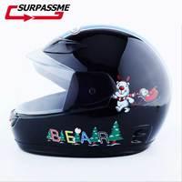 Children Motorcycle Helmet with Neck cover Safety Kids Full Face Cartoon Children Motorbike Helmet Winter Helmet For Boy Girls