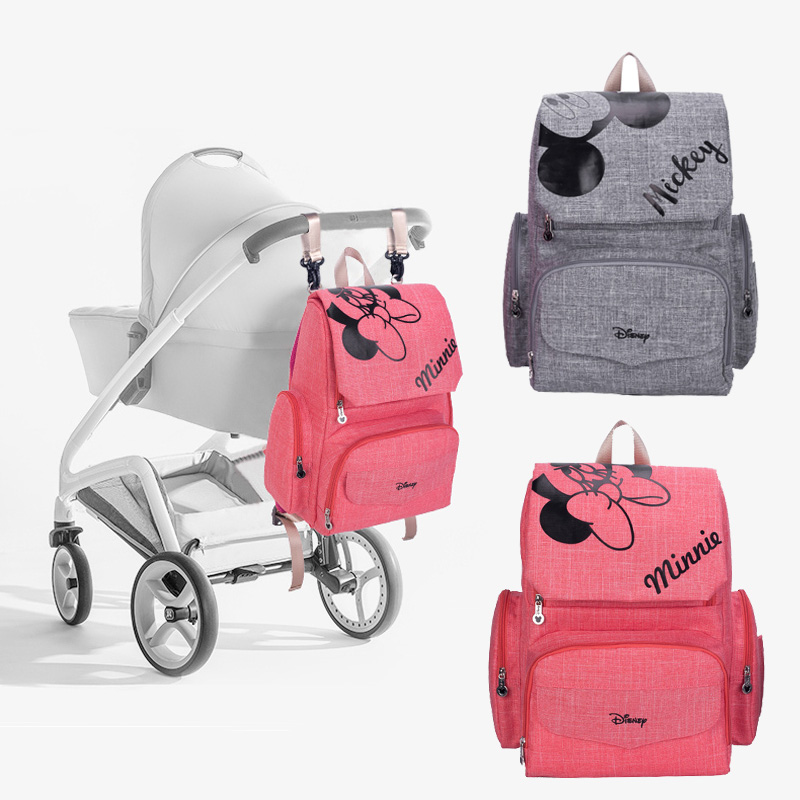 Diaper Bag Maternity Backpack Mini Mouse Mickey Mouse 4pcs/set = Baby Nappy Bag + Changing Pad +Stroller Strap + Waterproof bag-in Diaper Bags from Mother & Kids    2