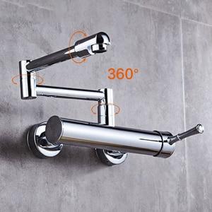 Image 2 - Kitchen Faucet 360 Degree Rotating Black Wall faucet Mixer sink wall mounted faucet Cold and Hot faucet Wall tap XT 186
