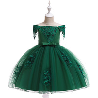 New Arrival Shoulderless Dark Green Flower Girl Dresses Knee length Appliques Bow Decoration Prom Ball Dress Communion Gowns