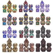 New Design Dragon Scales Metal Dice 7pcs with Pouch for Dungeons and Dragon RPG MTG Board Games D4 D6 D8 D10 D12 D20(China)