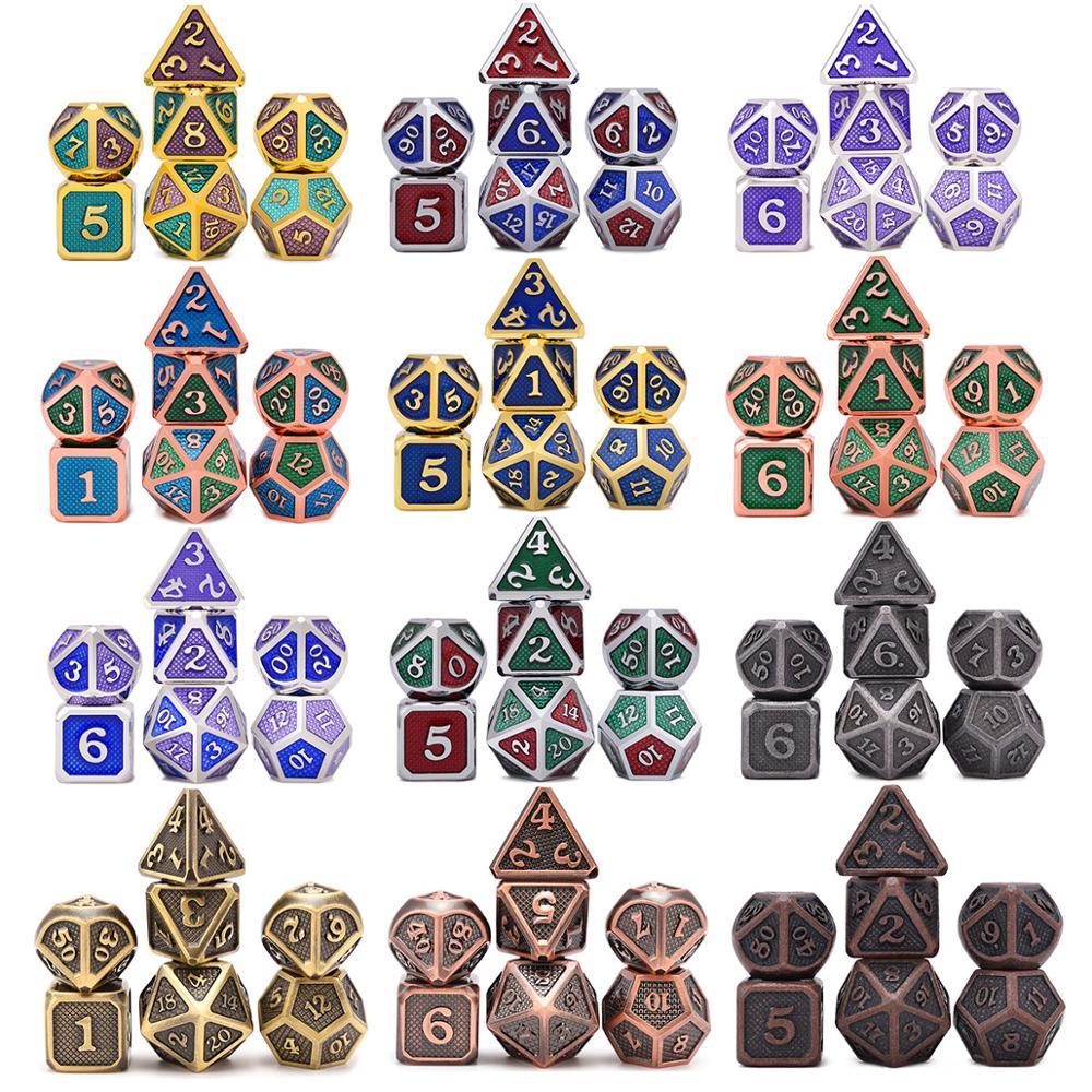 Novo design dragão escalas de metal dados 7 pçs com bolsa para masmorras e dragão rpg mtg jogos de tabuleiro d4 d6 d8 d10 d12 d20