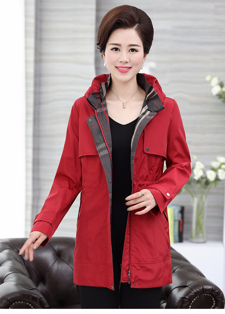 British Style Woman Beige Trench Coat Red Black Overcoat Middle Aged Women\'s Casual Trench Lady Casual Duster Coats 40s 50s 60s Windbreakers (26)