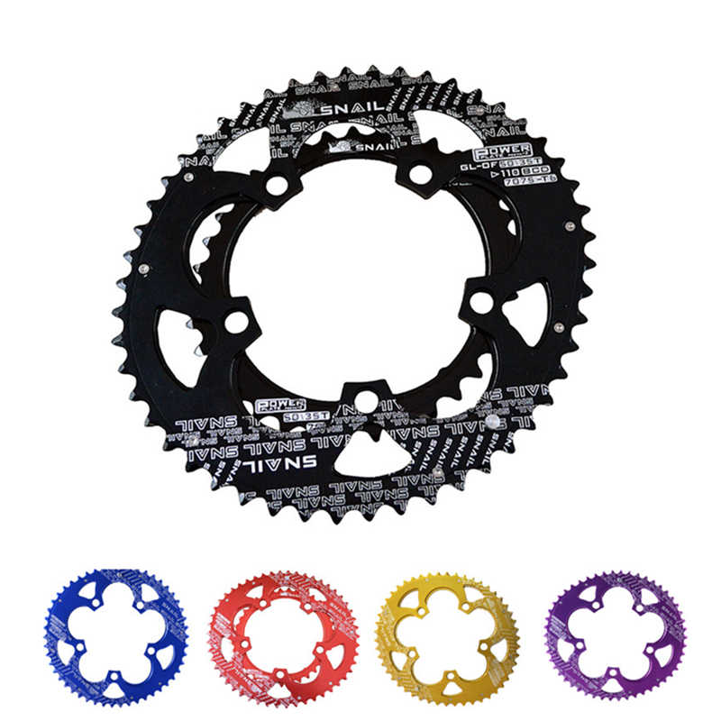 Catazer <font><b>110BCD</b></font> <font><b>50T</b></font>/35T Road Bike Bicylcle 7075-T6 Alloy Oval double Chainwheel Ultralight Ellipse Climbing Power Chain Plate Set image