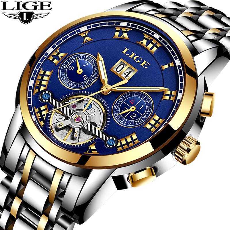 Men's Watch Automatic mechanical watches sports fashion business sports waterproof military male clock LIGE top luxury brands