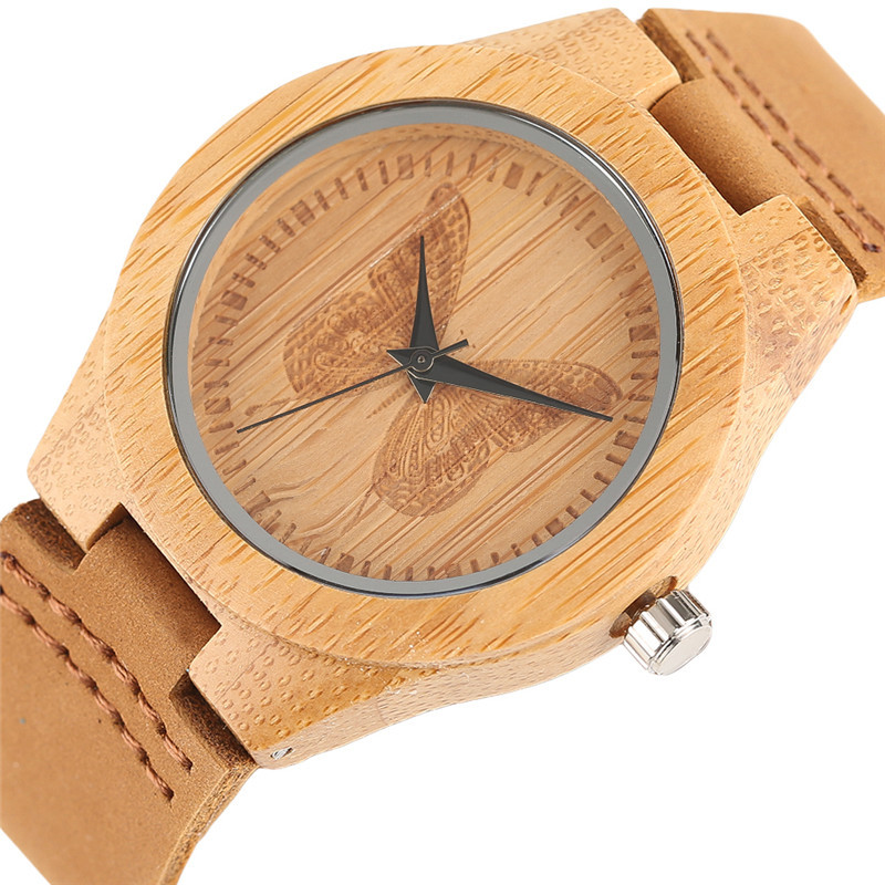 Beautiful Butterfly Decoration Dial Wood Watches For Ladies Girl Women Handmade Bamboo Wristwatch Quartz Watch Relogio Feminino