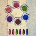 6 Unids Holográfica Magnífico Brillo Del Polvo Del Laser Del Brillo Del Arte Del Polvo Del Brillo Del Clavo Pigmentos de Cromo 6 Colores Diferentes