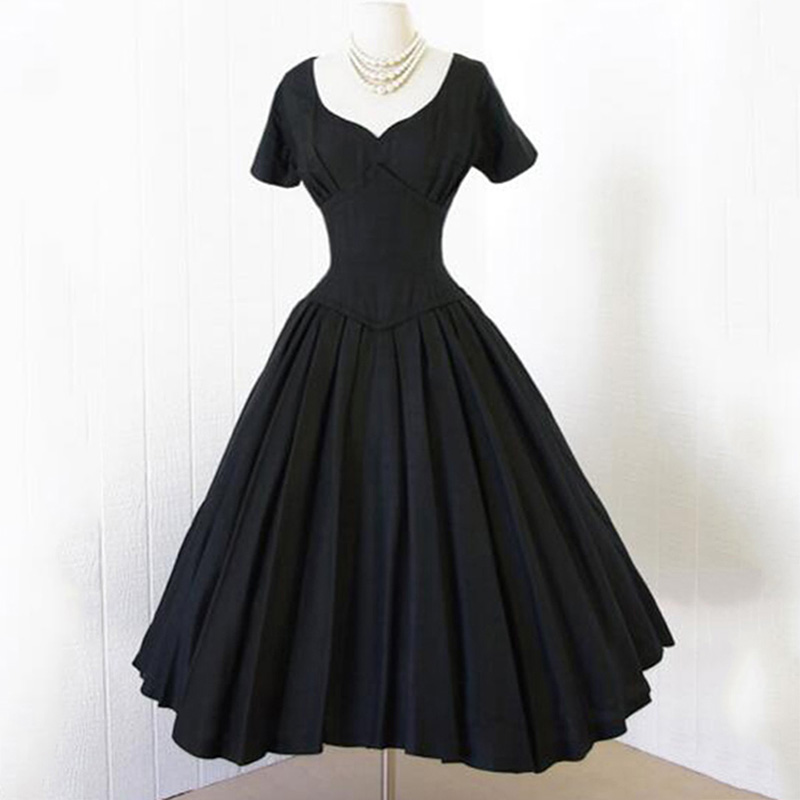 Sisjuly Hot Vintage Dress A Line Black Women Party Dress ...