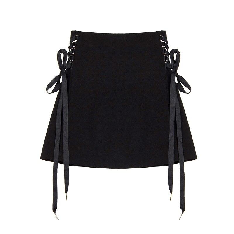 Herzhaft Harajuku Röcke Seiten Lace Up Schwarz Mini Rock Für Gothic Mädchen A-line Hohe Taille Rock Mit Zippper Um Jeden Preis
