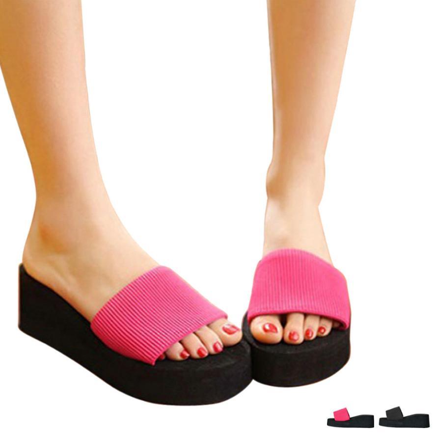2442460754917 Dropwow 2018 Summer Woman Shoes Platform bath slippers Wedge Beach Flip  Flops High Heel Slippers For Women Brand Black EVA Ladies Shoes