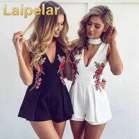 2018 Summer Plus Size XXL Embroidery V Neck Off Shoulder Women Fashion Bodysuit Elegant Sexy Short Jumpsuit Black White Playsuit