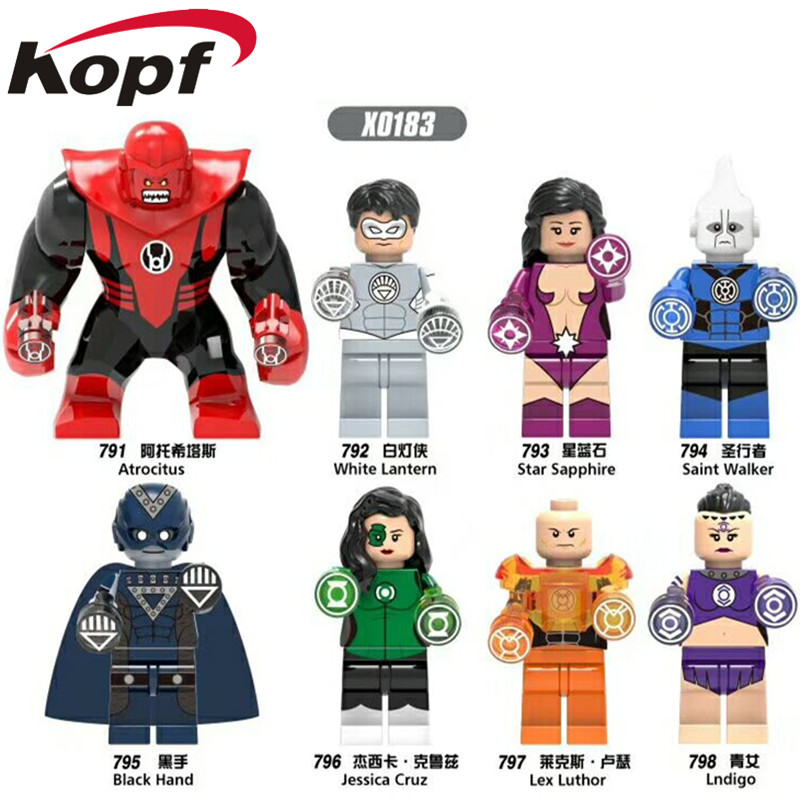 Single Sale Super Heroes Atrocitus Lex Luthor Saint Walker Star Sapphire Lgdigo Bricks Building Blocks Children Gift Toys X0183 building blocks super heroes back to the future doc brown and marty mcfly with skateboard wolverine toys for children gift kf197