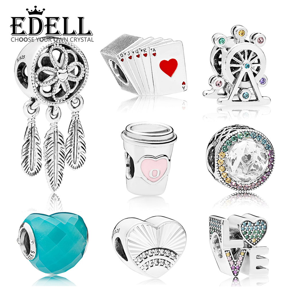 EDELL 100% 925 Sterling Silver Genuine BLUE SHAPE OF LOVE CHARM DRINK TO GO RAINBOW LOVE Ferris Wheel Playing Cards SPIRITUAL fashion ferris wheel pattern square shape pillowcase without pillow inner