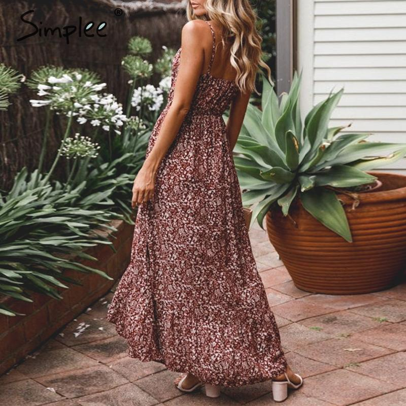 CUERLY V neck sleeveless women floral dress 2019 Boho ruffle long flower plus size summer dresses Holiday sexy beach vestidos in Dresses from Women 39 s Clothing
