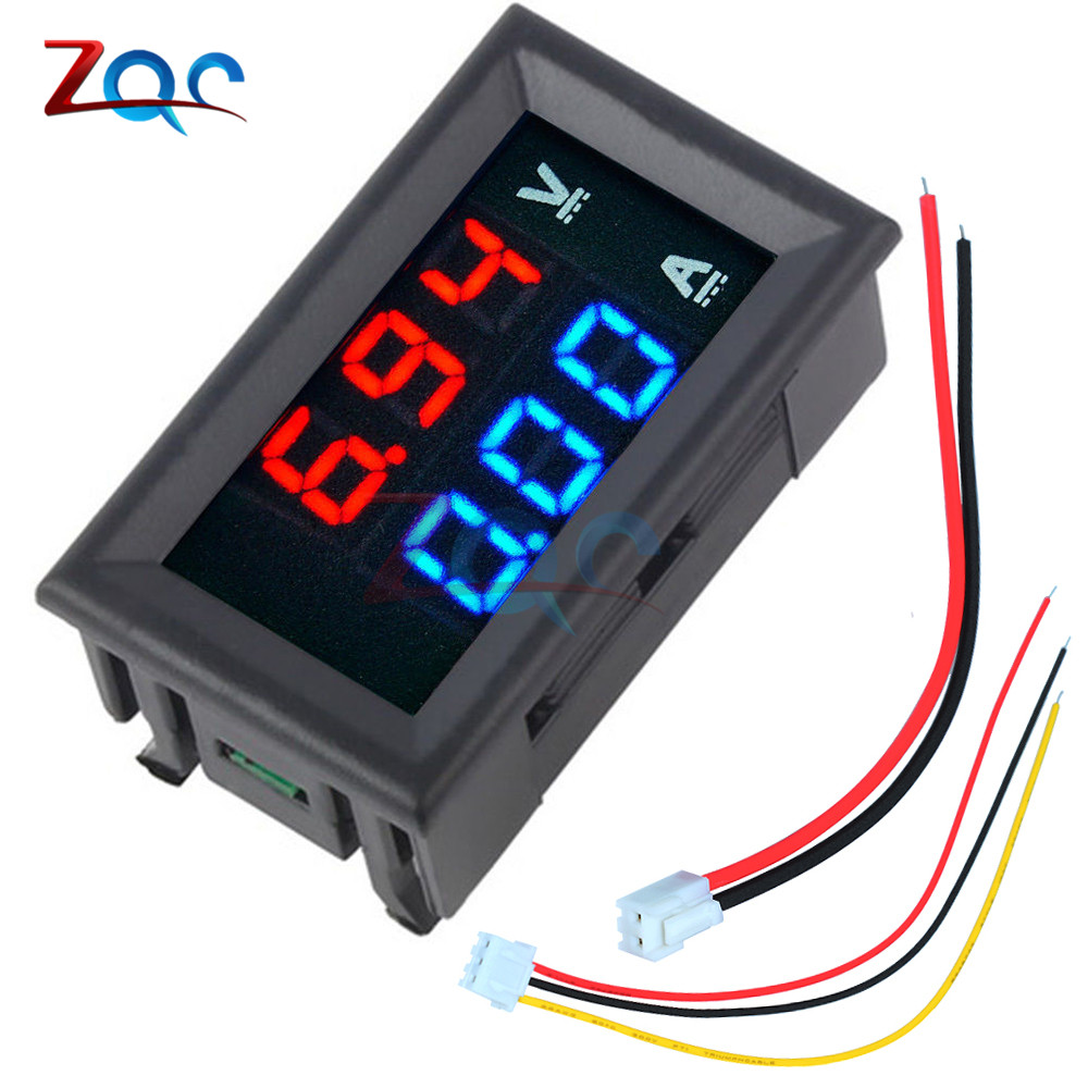 Mini Digital Voltmeter Ammeter DC 100V 10A Panel Amp Volt Voltage Current Meter Tester 0.56 Blue Red Dual LED Display dc 0 100v 10a digital voltmeter ammeter led dual display voltage current indicator monitor detector dc amp volt meter