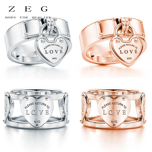 ZEG High Quality 100% Sterling Silver TIFF Original 1:1 Double T Have Zircon Ring Rose Gold Has Logo Women Jewelry Free Mail