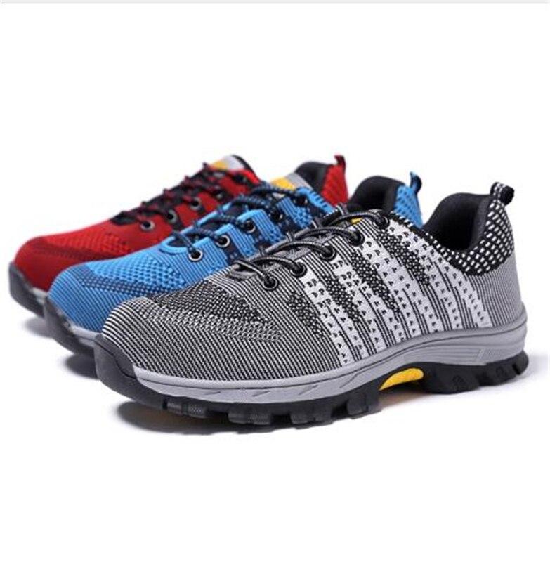 Punção Azul Calçado Epos Proteger Sapatos Aço Mesh Homens Biqueira Gram Trabalho vermelho Unisex Grande quebra Anti Prova Tamanho Botas Da De Indústria cinza Segurança Air TdqwpnBOp1