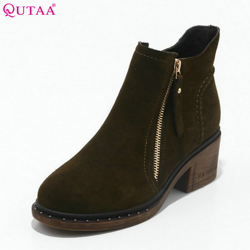 QUTAA 2018 Cow Suede Women Ankle Boots Fashion Zipper Design Round Toe Square High Heel High Quality Women Boots Size  33-43 popular high quality full grain leather ankle boots size 40 41 42 43 44 sequined decoration zipper design round toe boots