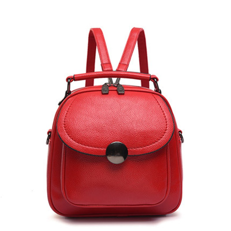 Korean Backpack Leather Women Shoulder Bag Small MINI Backpack School Bag for Teenagers Girls Travel Top-handle Mochila Feminina drawstring pu leather backpack small school women bag top handle lock girl backpack new arrivals herald fashion mochila feminina