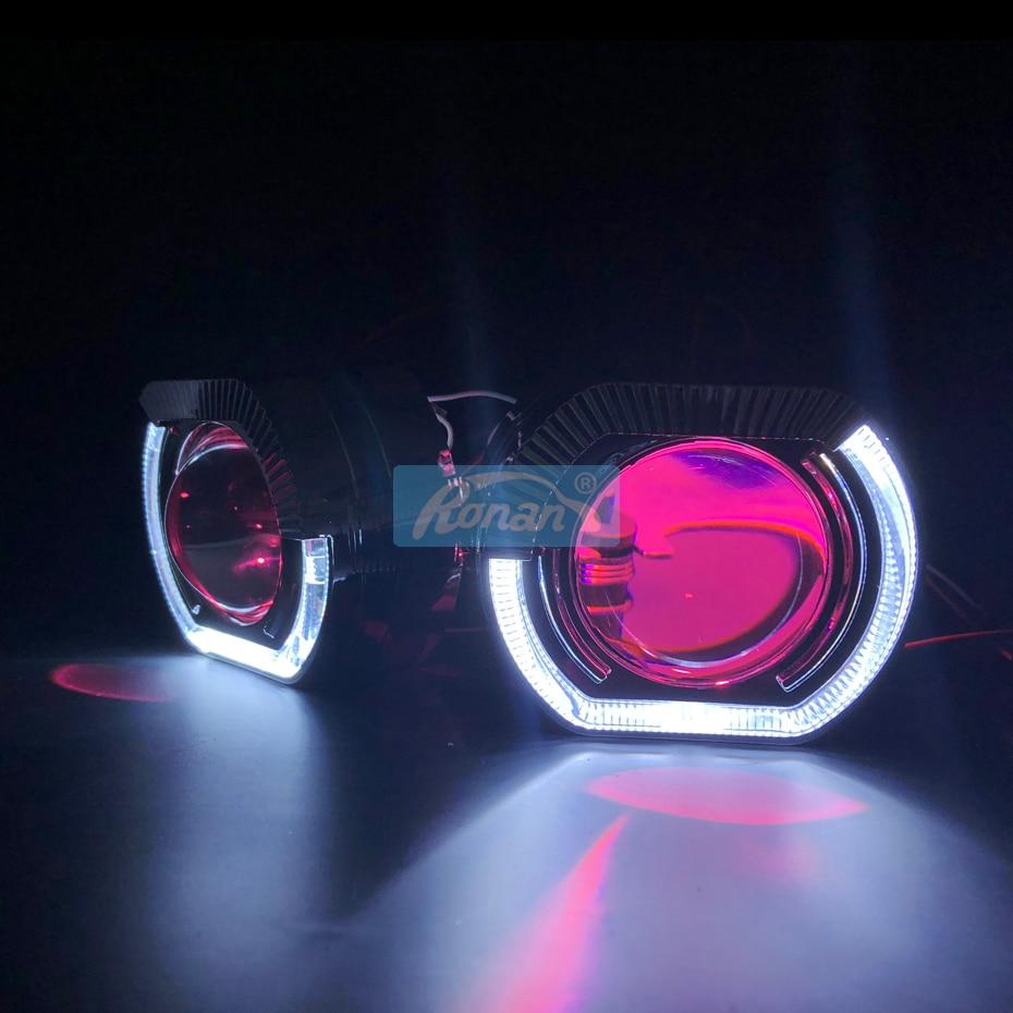 """Image 5 - Ronan 2,5 """"би ксеноновые линзы проектора с спортивными ангельскими глазками кожухи для BWM H1 H4 H7 разъем devil eyes красный синий для автомобиля модифицированный-in Фара для авто в сборе from Автомобили и мотоциклы"""