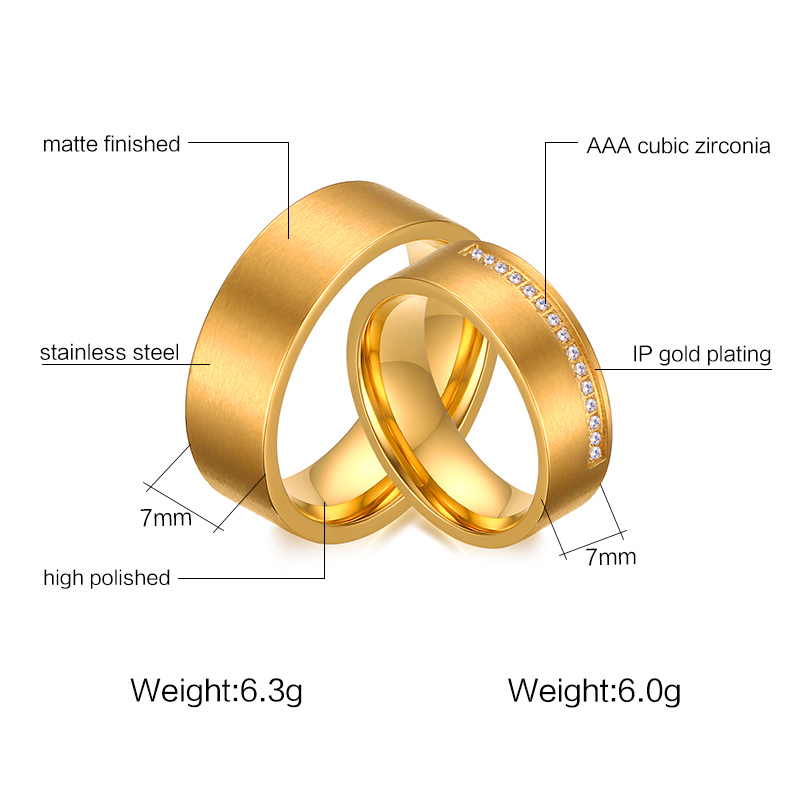 Heyrock Golden Wedding Rings for Women/Men Jewelry Trendy CZ Stone Surgical Steel Promise Engagement Ring