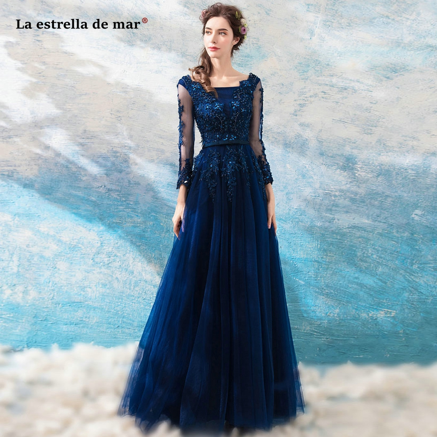 La estrella de mar vestido madrinha new tulle crystal long sleeves A Line navy blue burgundy   bridesmaid     dresses   long plus size