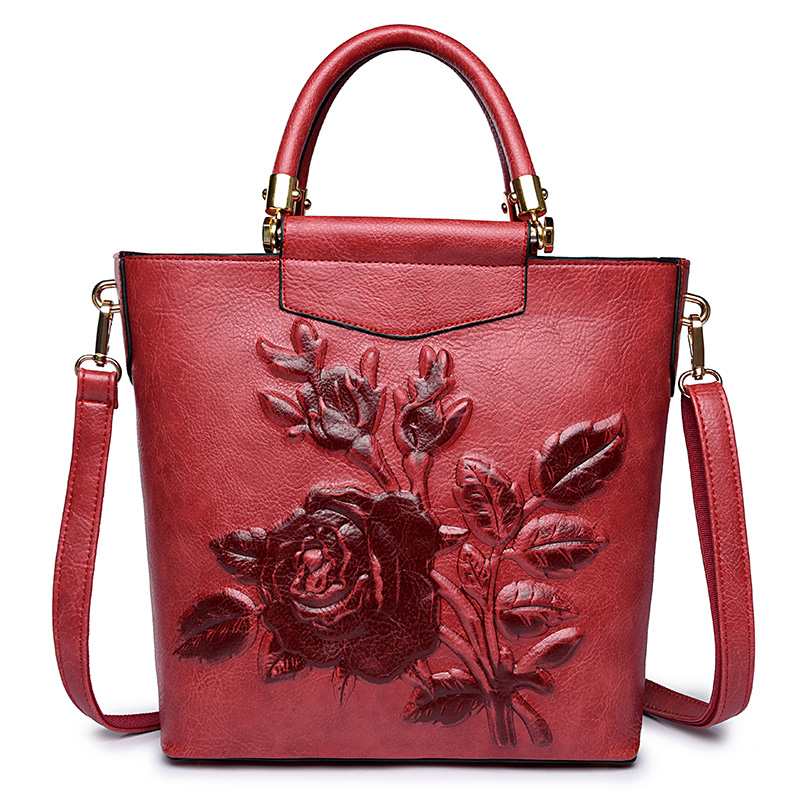Fashion embossed Handbags 2018 new Women handbag Floral Vintage Chinese Style casual shoulder bag Ladies Flower Bags Tote