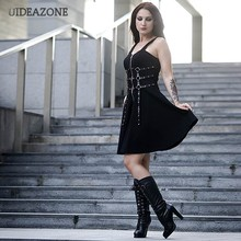 Gothic Harajuku Kleid Öse Web Zipper Schwarz Mini Kleider Grunge Sommer 2019 Sleeveless Backless a-line Sexy Punk Rock(China)