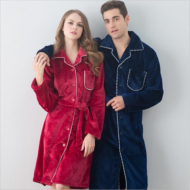 Новый Фланели пара ночной рубашке женщины зимой Коралловых кашемировые Халаты халаты Длинный отрезок мужчин Домашняя одежда пижамы
