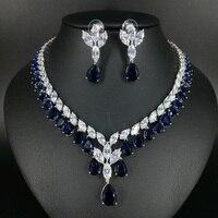 2017 New Fashion Luxury Elegant Retro Blue Little Water Drop Zircon Necklace Earringset Wedding Bride Dinner
