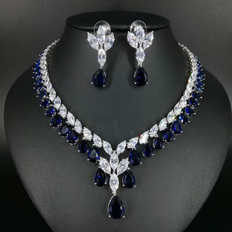 2019 New Fashion Luxury Elegant Retro Blue Little Water Drop Zircon Necklace Earringset,wedding Bride Dinner Party Dress Jewelry High Resilience