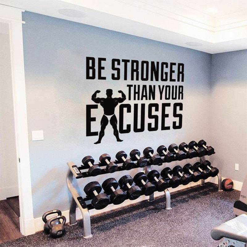 Gym Motivation Quote Wall Decal Stronger Than Your Excuses Wall Art Gym Vinyl Wall Sticker Home Decor Removable Wallpaper AY977