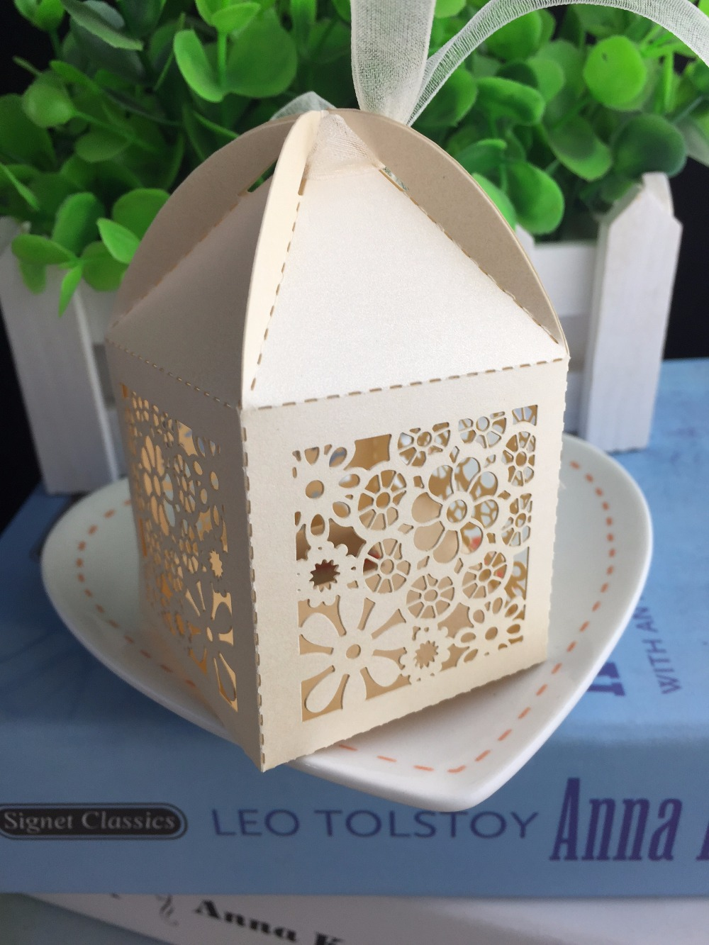 100pcs Ivory Cake Gift Packaging Boxes for wedding Party Decoration ...