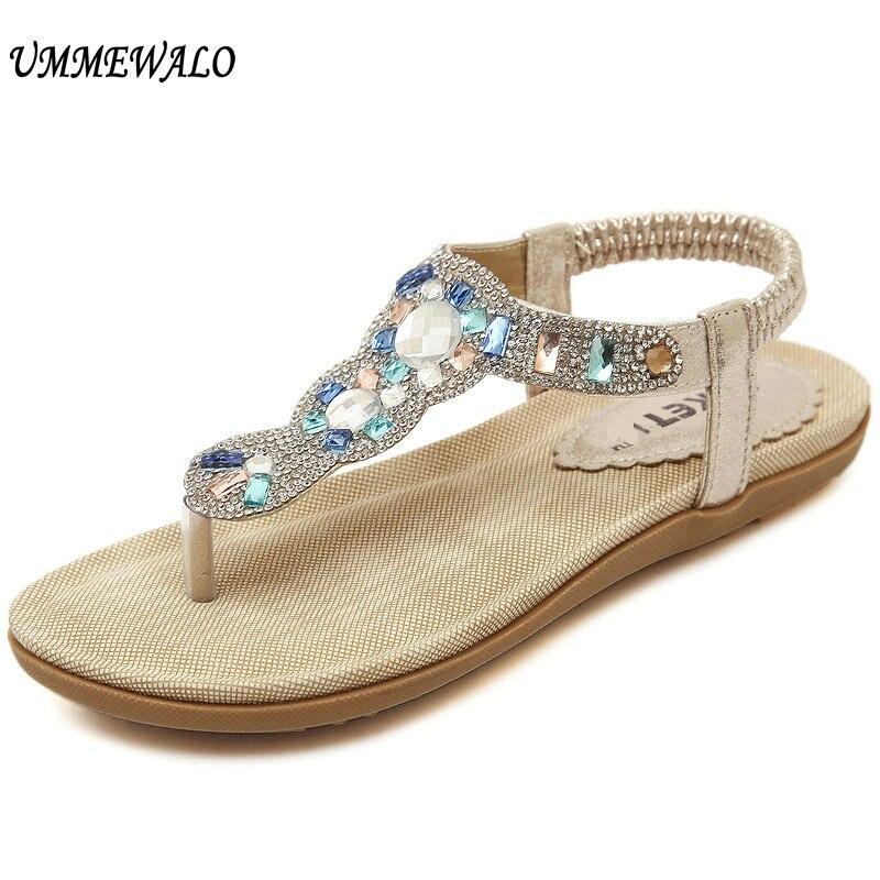 457973edc UMMEWALO Sandals Women Summer T-strap Flip Flops Thong Flat Sandals Ladies  Rhinestone Gladiator Sandal Shoes Zapatos Mujer