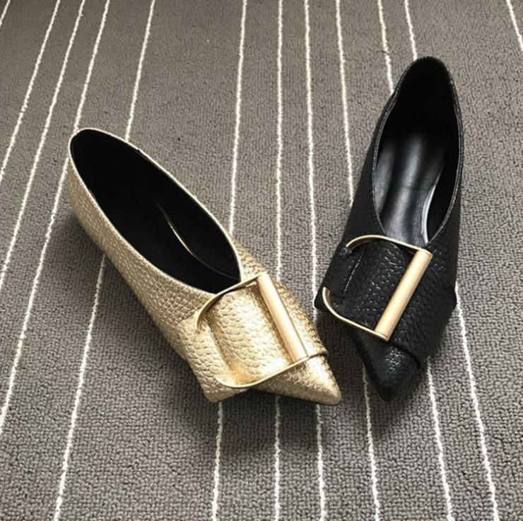 Señaló Mujeres Simple Boca oro Zapatos 2019 Marca Hebilla Moda Negro De Nuevos Las Planos Mujer Metal Tamaño Baja Gran 8F676x