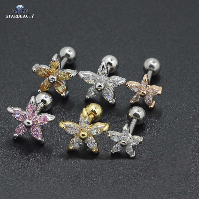 1.2*6mm Surgical Steel With Elegant Zircon Flower Ear Tragus Bar Cartilage Earring Stud Piercing Fashion Jewelry wedding Gift