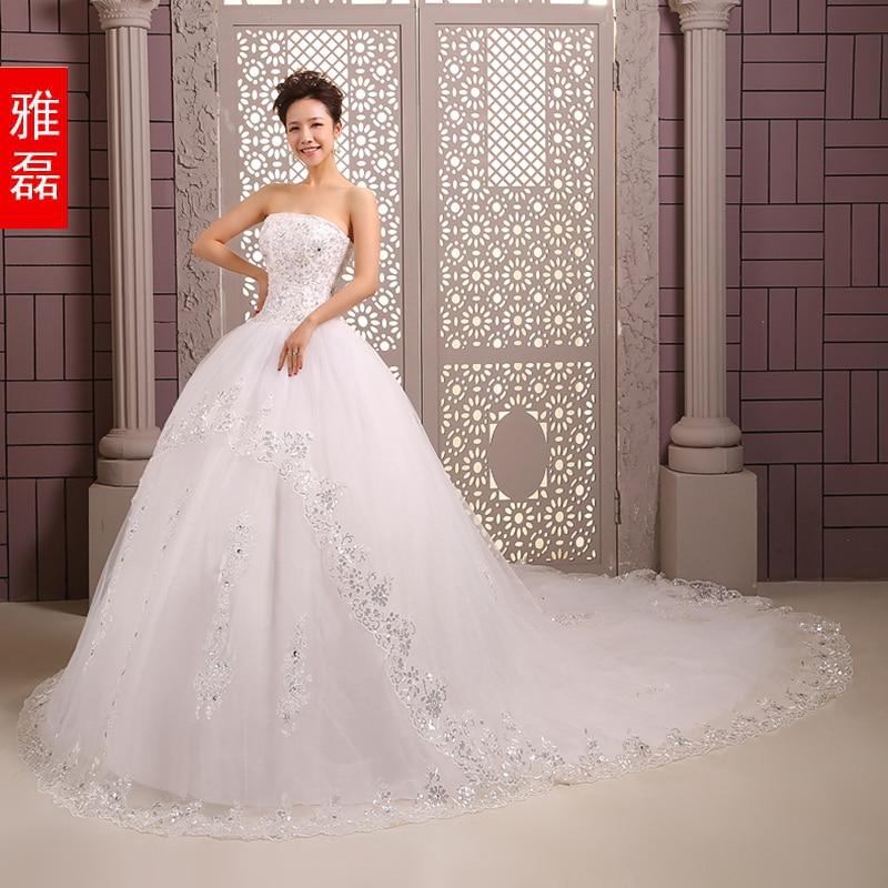 Train Wedding Dress 2014 New Arrival Winter Bride Tube Top