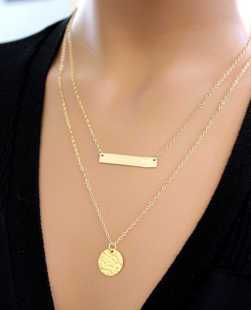 a3b279407cbbc3 gold or silver platedl ong layered Double layered hammered disc necklace,tiny  dot necklace,hammered disc tag necklace dainty