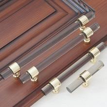 3.75 5 6.3 Acrylic Smoke Lucite Gold Dresser Pulls Drawer Handle Kitchen Cabinet Door Pull Knob Hardware