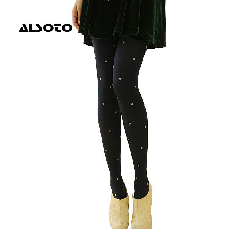 ALSOTO Women Pantyhose Sexy Heart Pattern Design Tights Fashion Collant Female Breathable Pantyhose Slim Was Thin Stockings