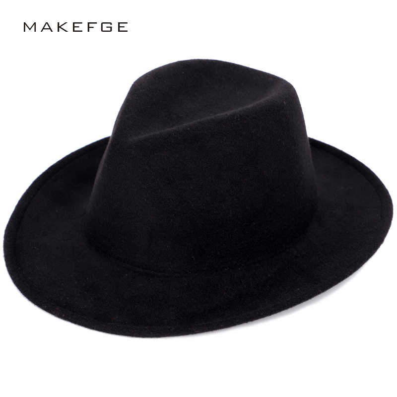 Retro men s faux wool fedora solid color fashion warm autumn and winter hats  adjustable man woman 2856fb87b9cf