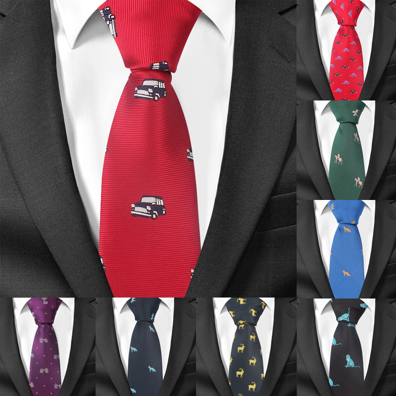 Fashion Cartoon Tie For Men Polyester Jacquard Animal Necktie For Wedding Business Suits 6cm Skinny Wide Neck Ties Slim Gravatas